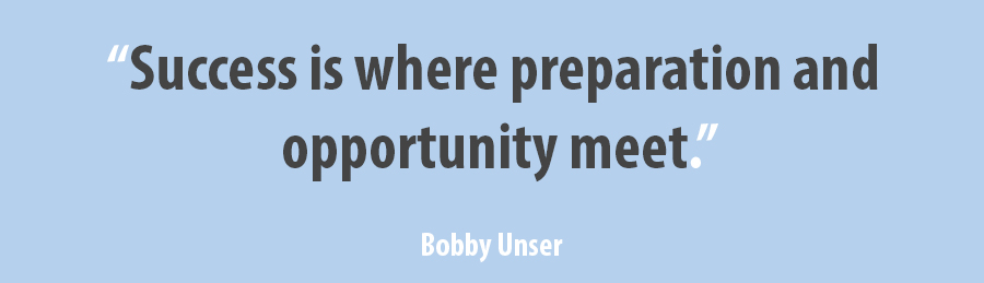 quote Bobby Unser success is where preparation and opportunity meet