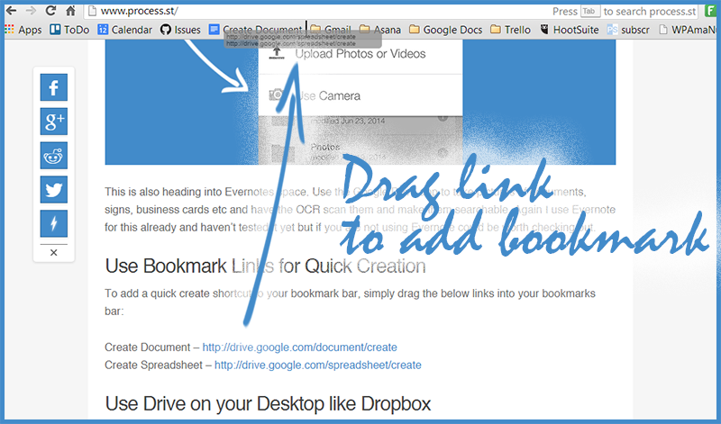 Quick Google Drive Bookmark Links