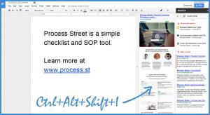 Google Drive Research Pane Shortcut