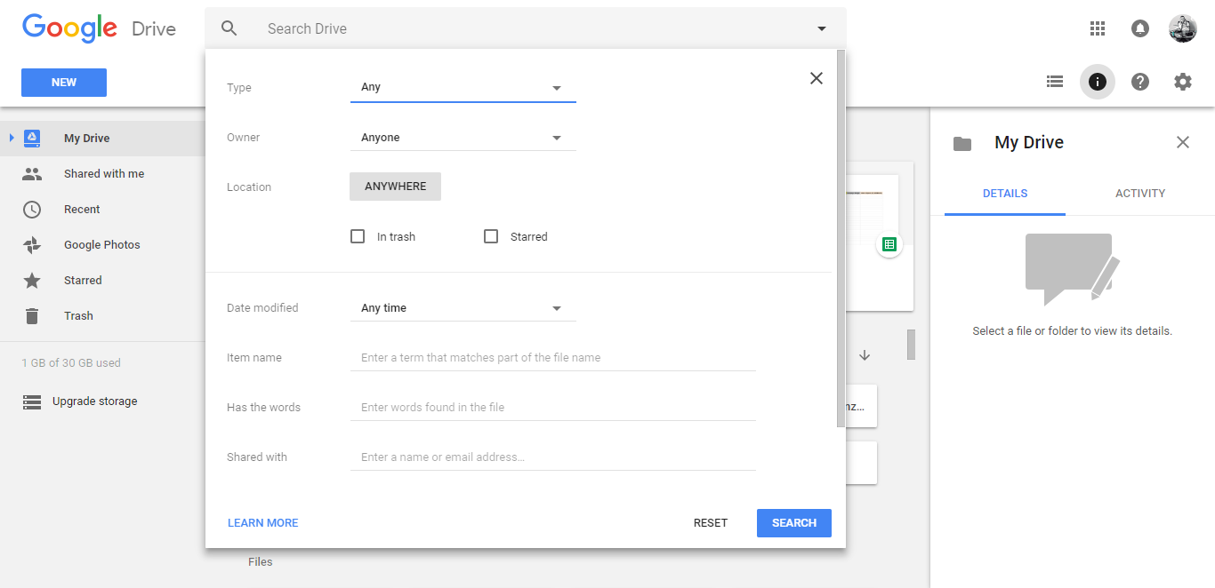 google drive tips search filtering