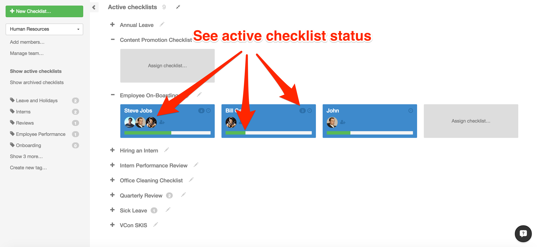 run multiple recurring checklists