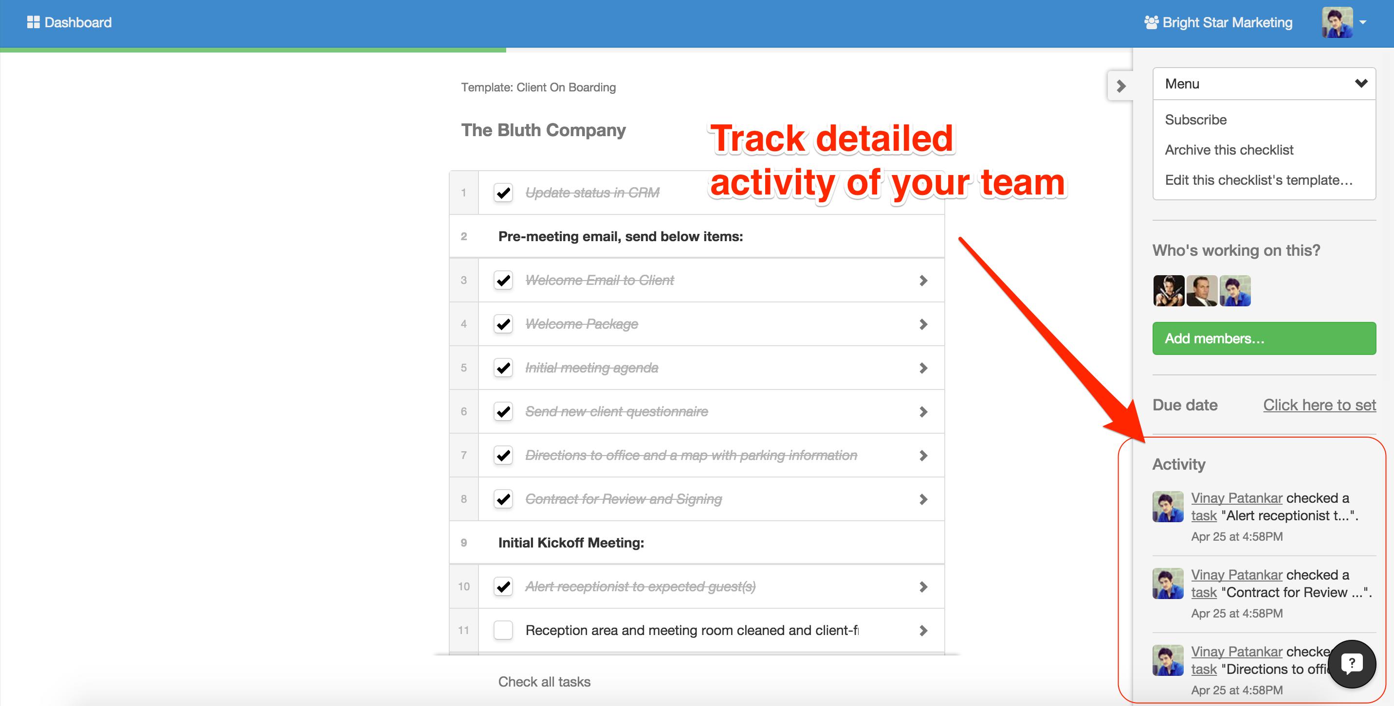 track checklist activity