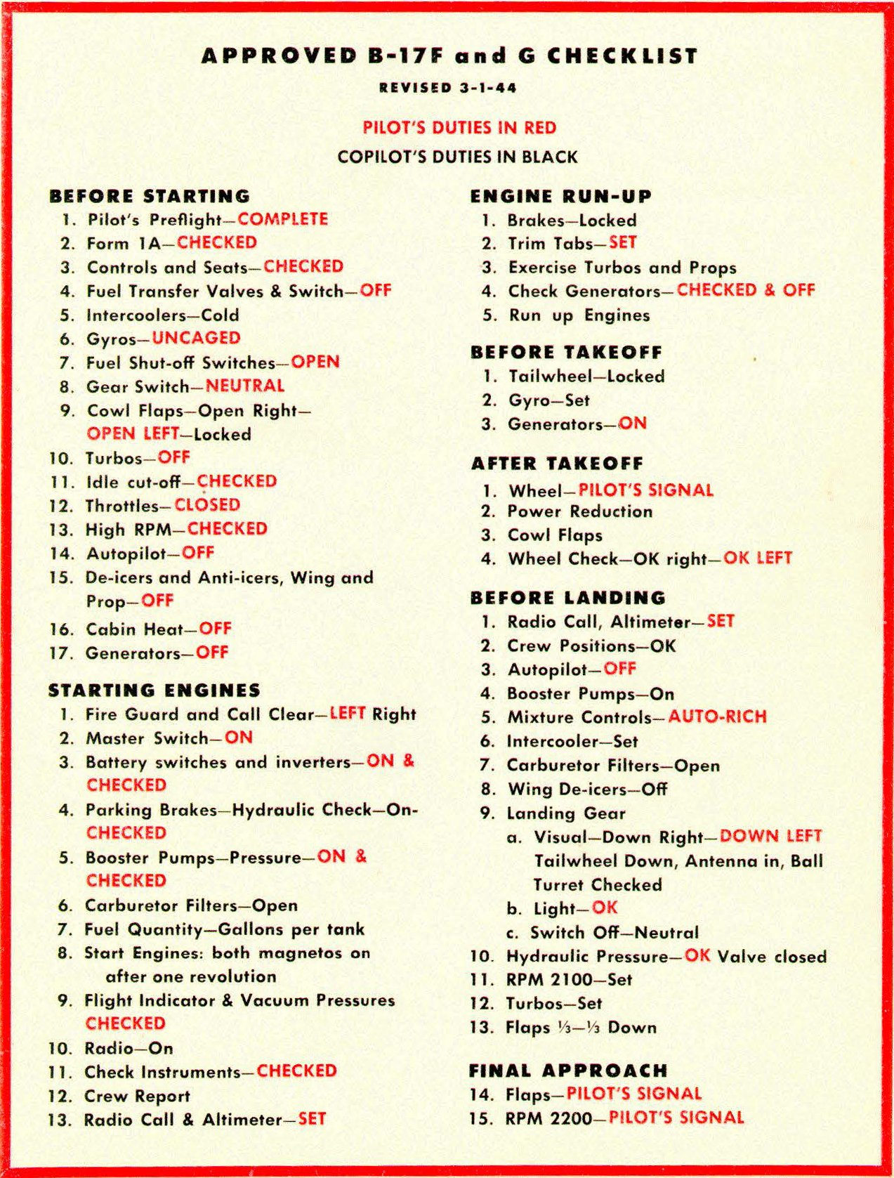 B17 Pilot's Checklist