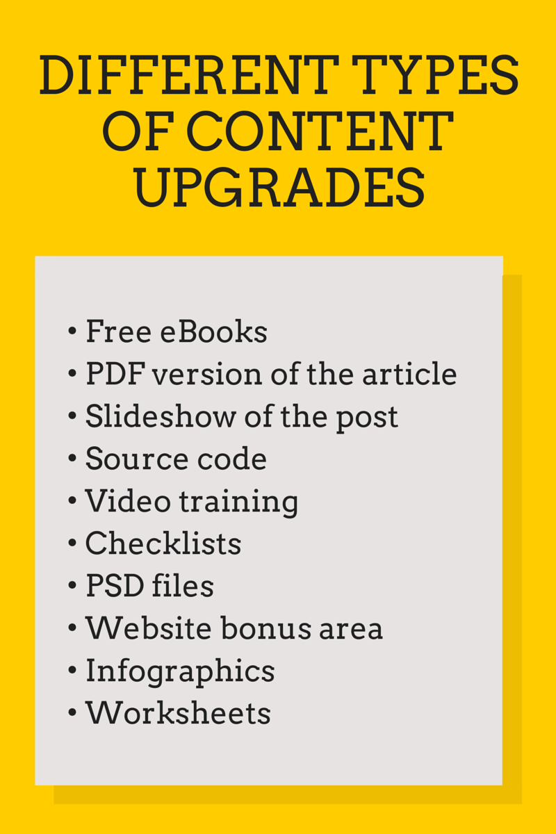 Types of Content Upgrades