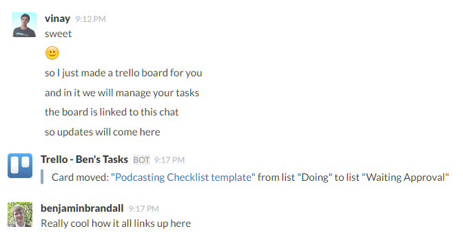 Chat with Trello for Slack Review