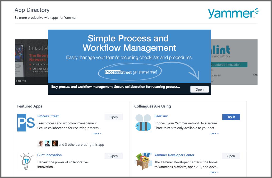 process street yammer app store