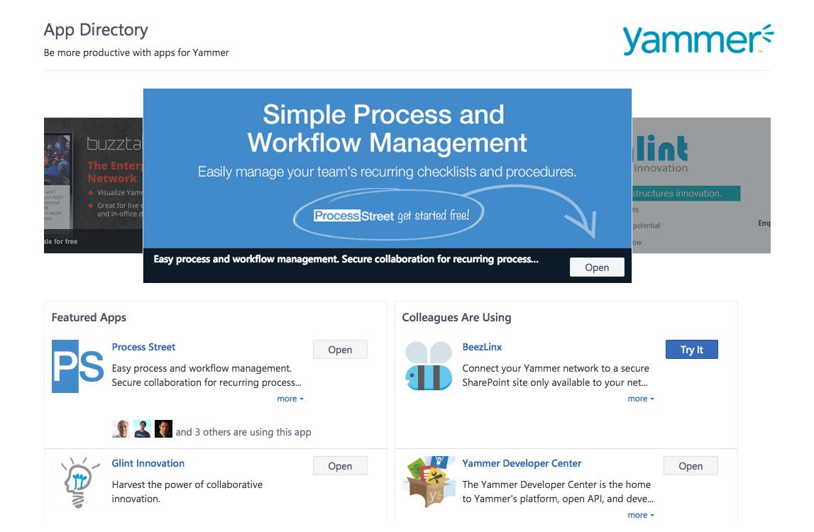 process street yammer app-store