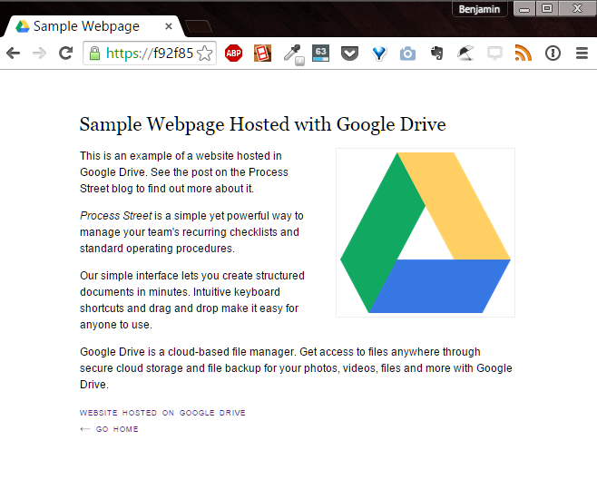hosted website on Google Drive