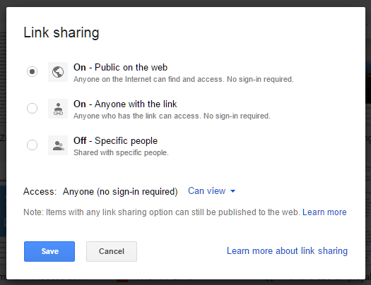 Make hosted website public on Google Drive