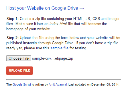 host website with google drive script