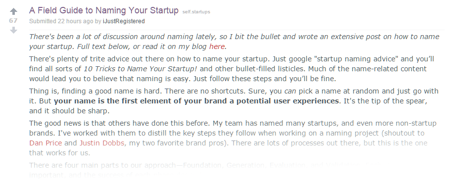 Naming your startup Reddit Marketing
