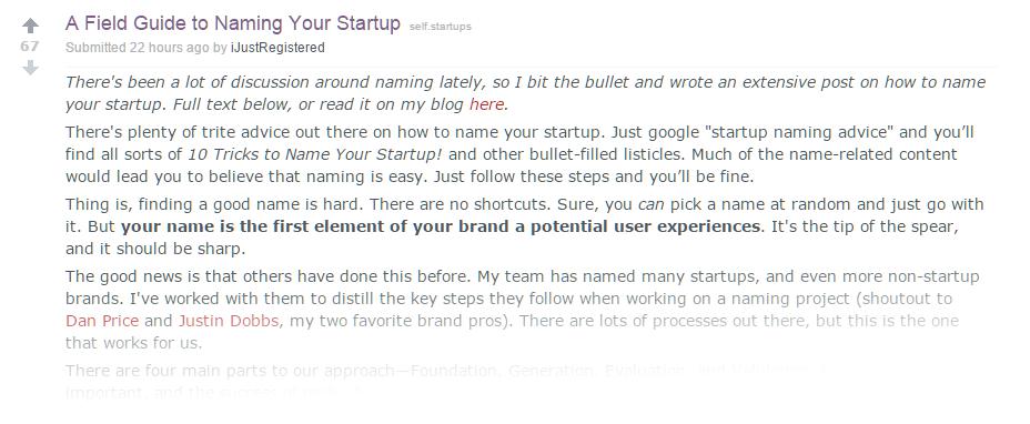 Naming your startup Reddit Marketing