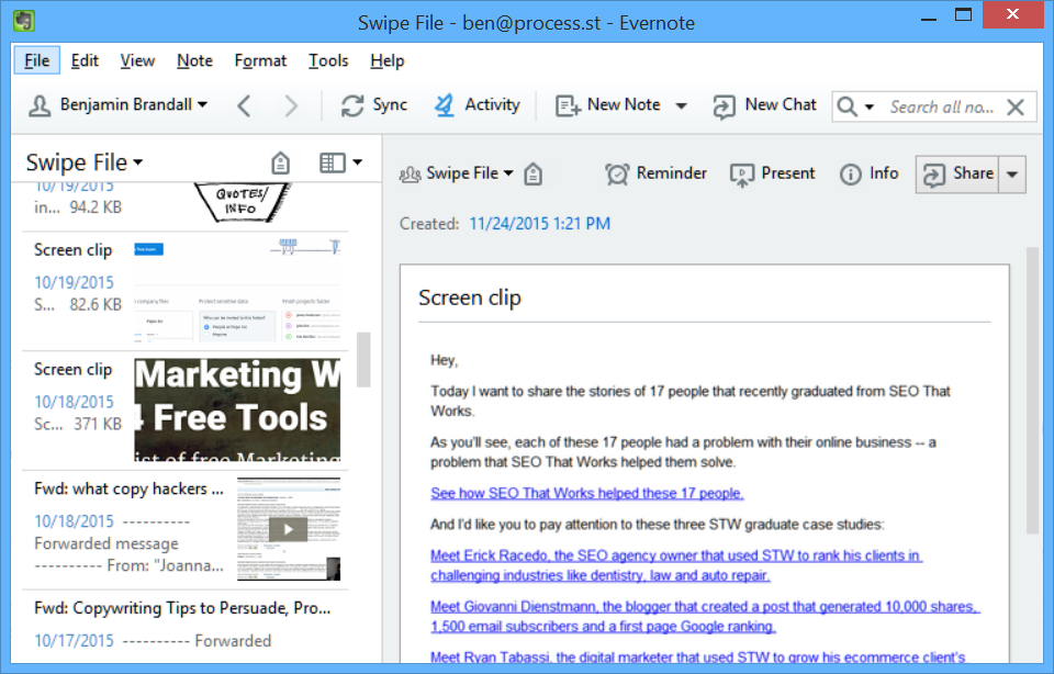 Evernote Swipe File