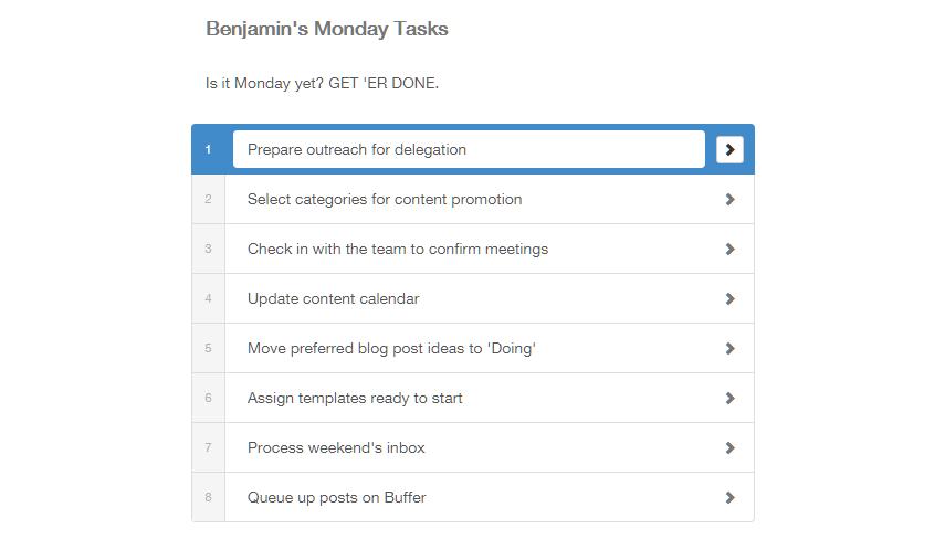 Monday Task List