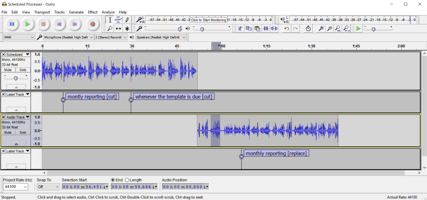 Audacity Project with Labels