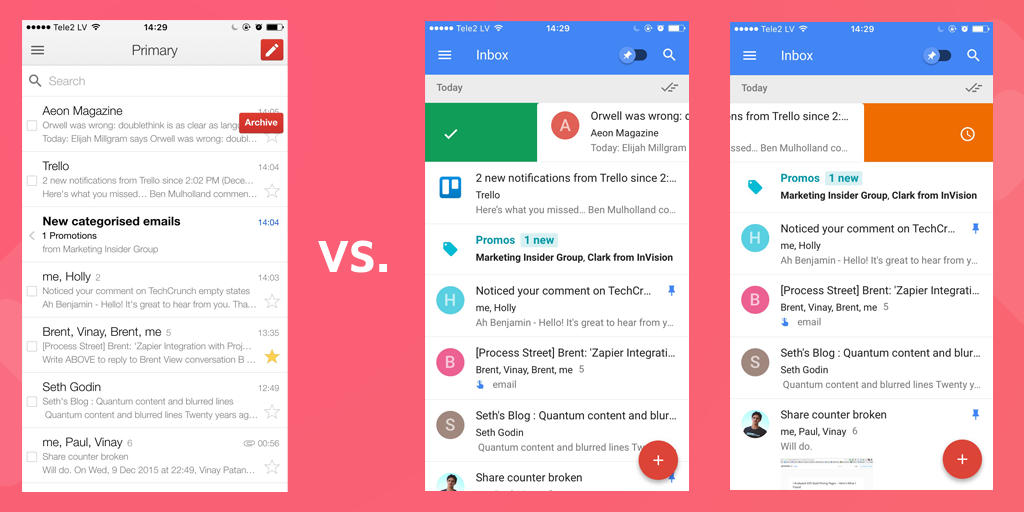 Inbox vs Gmail Swiping