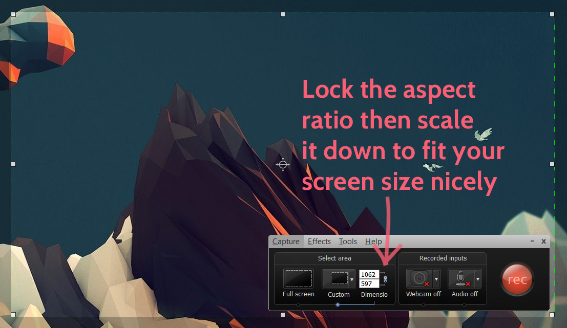 Lock aspect ratio in Camtasia