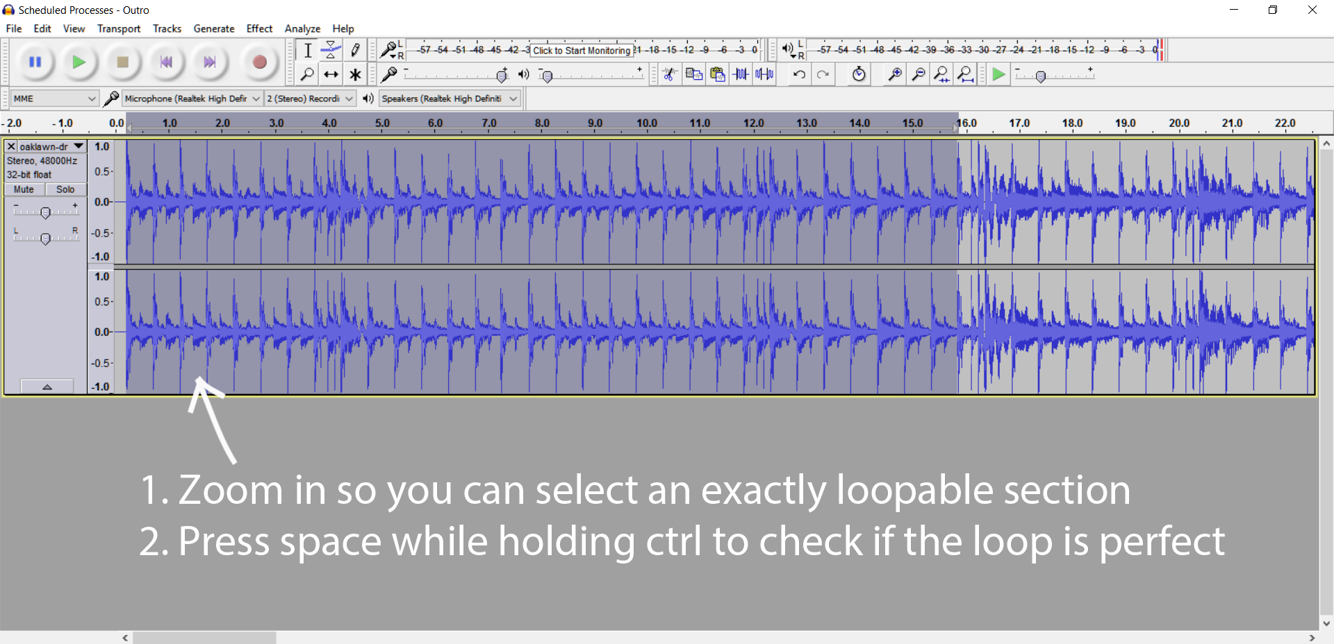 Looping in Audacity