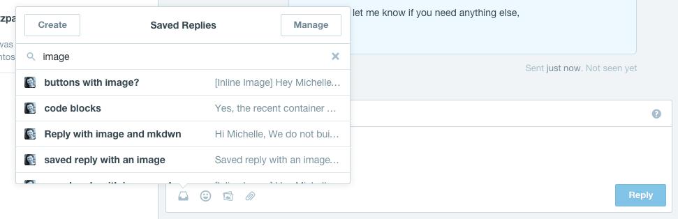 intercom saved reply