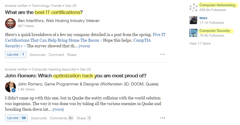 Niche keywords Quora Content Ideas