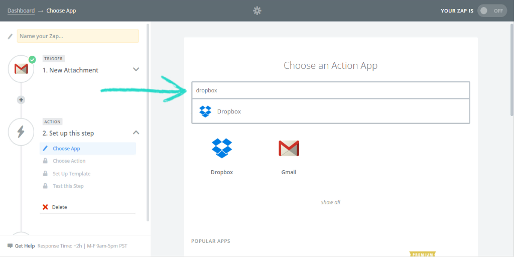 what is zapier choose action app