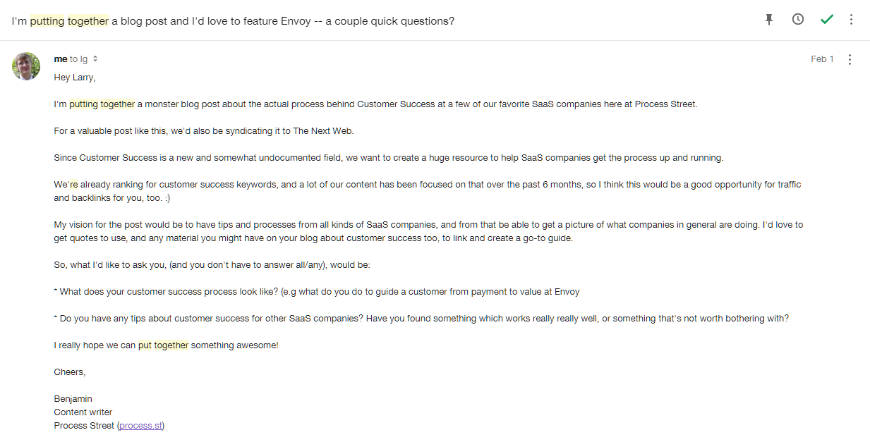 Email to Envoy
