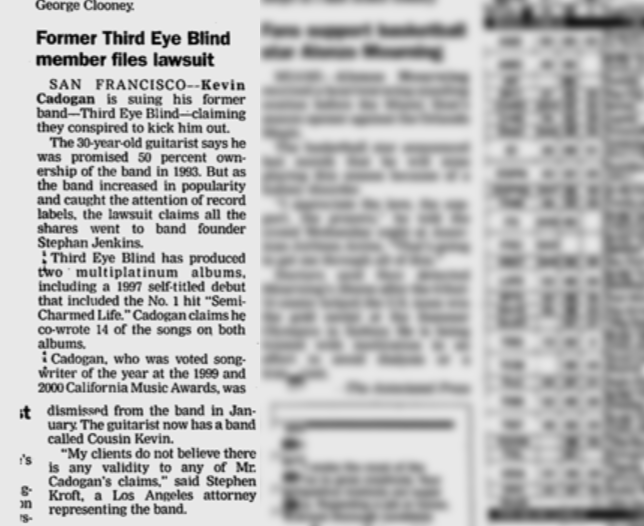 Third Eye Blind News Clipping