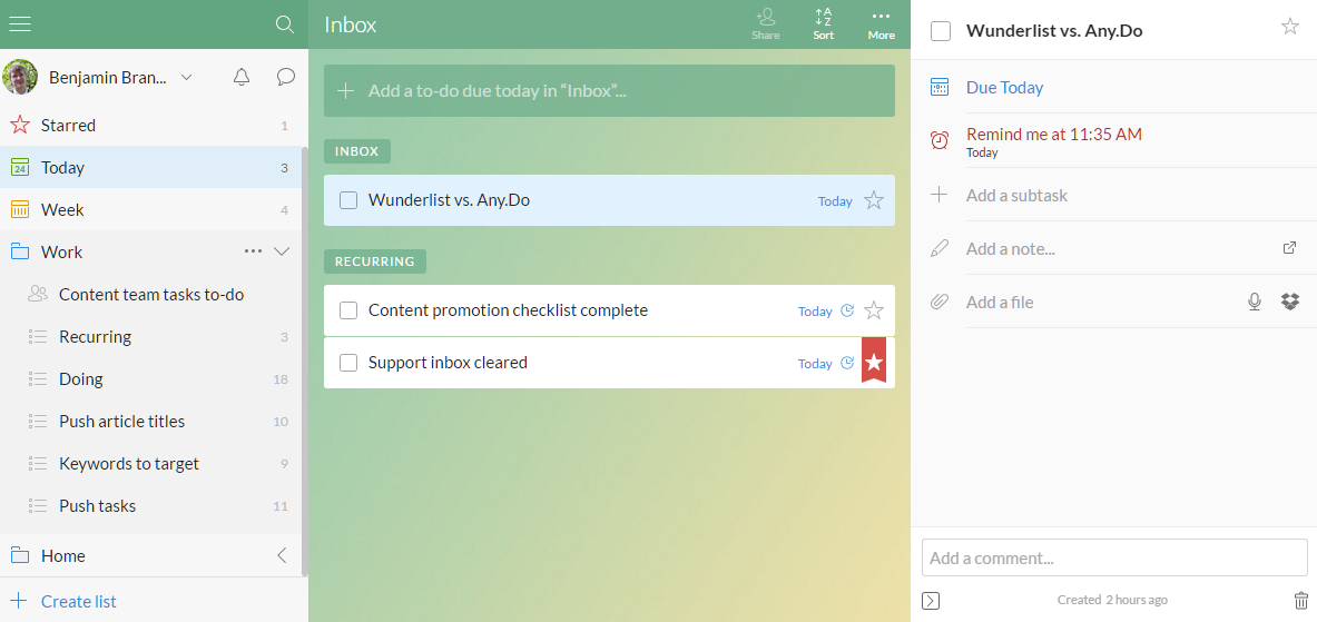 the best to do list app todoist vs wunderlist vs to do vs any do