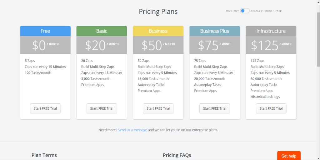 zapier vs ifttt - zapier pricing