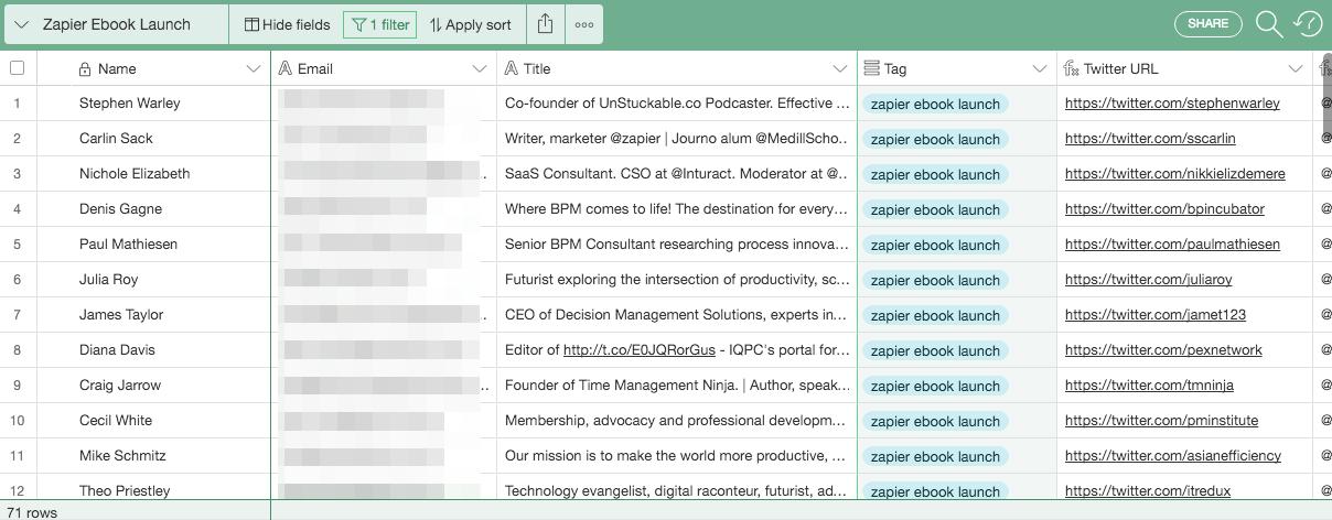 Airtable Zapier Database