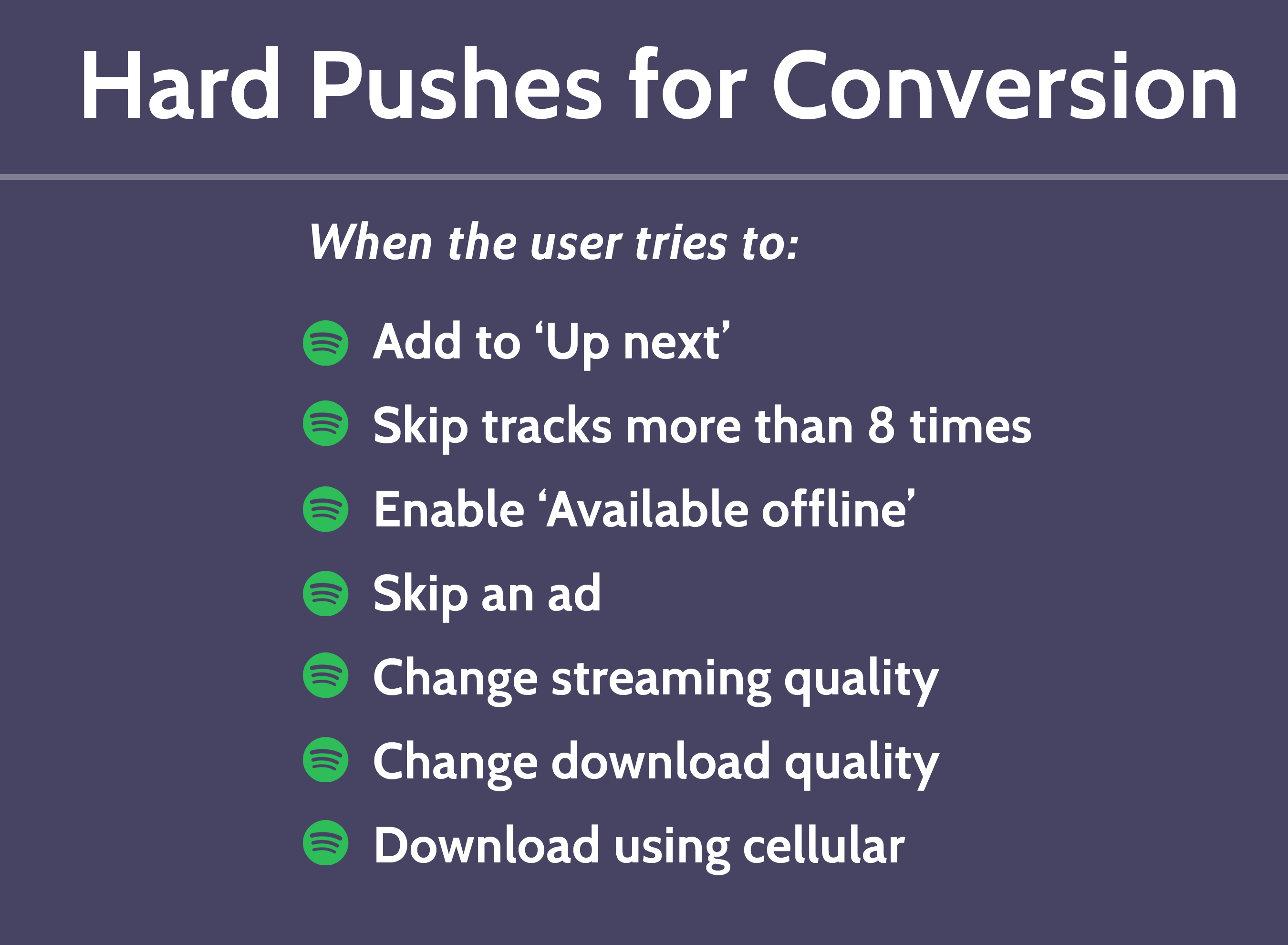 Spotify Hard Conversion Pushes