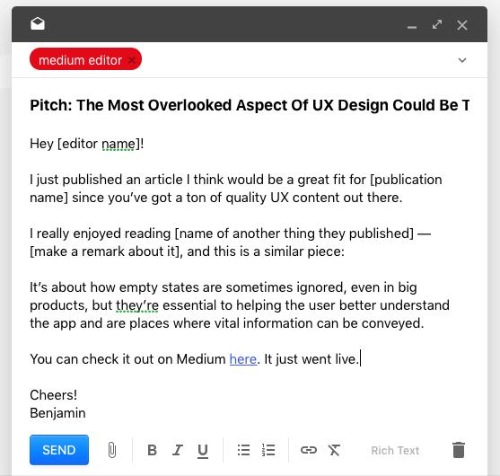 Medium Pitch Email
