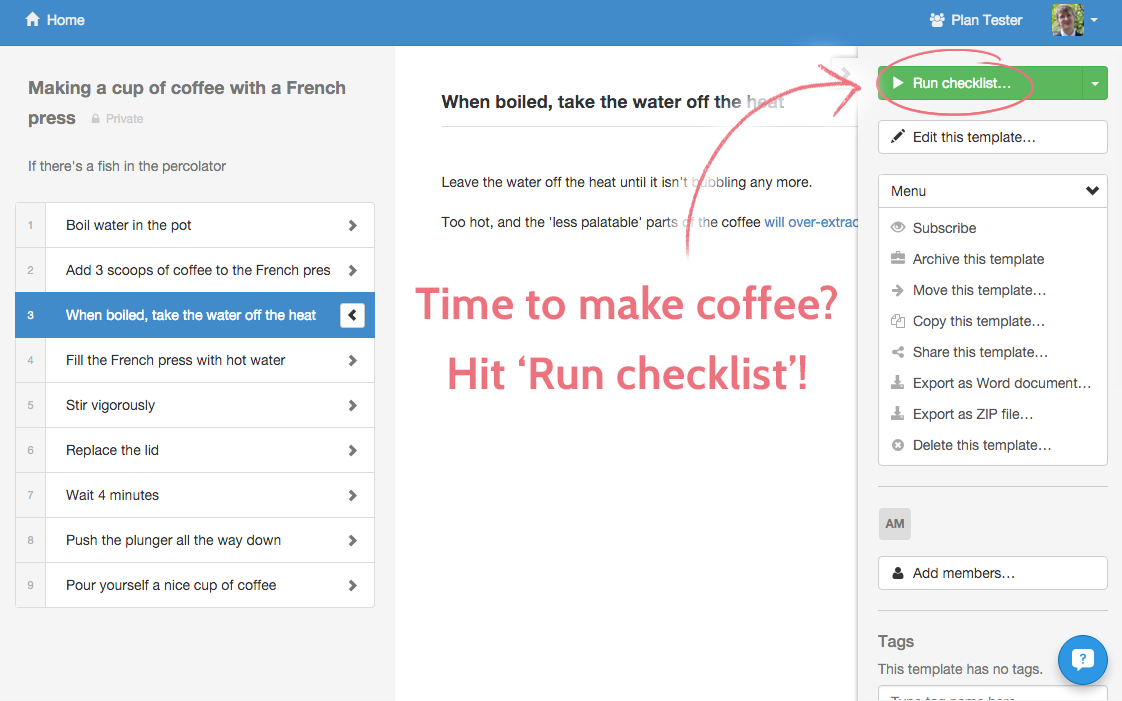 Run checklist