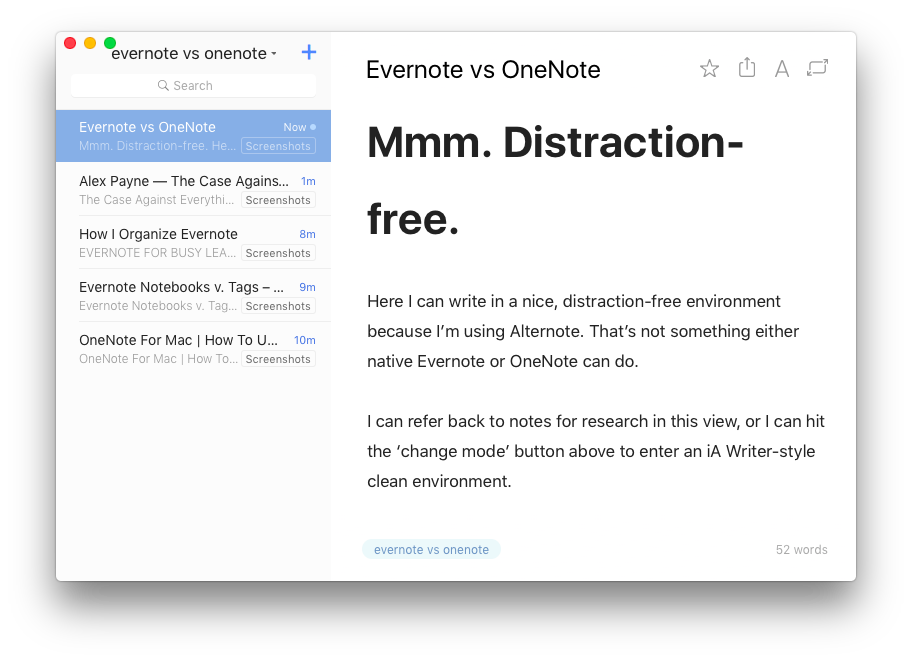 Distraction-free Alternote