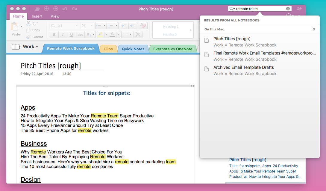 OneNote search