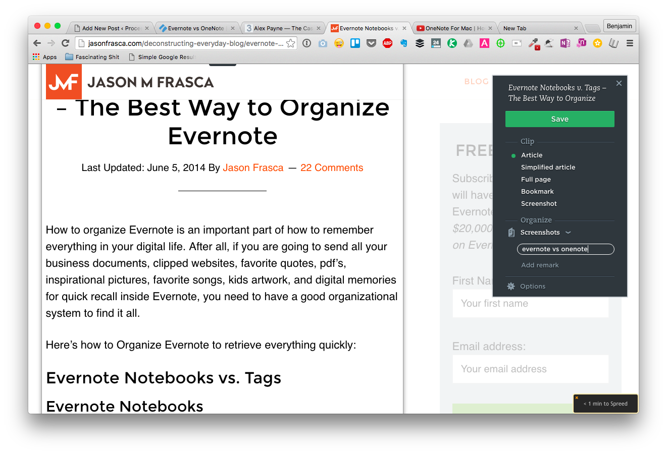 Tagging Evernote Web Clipper