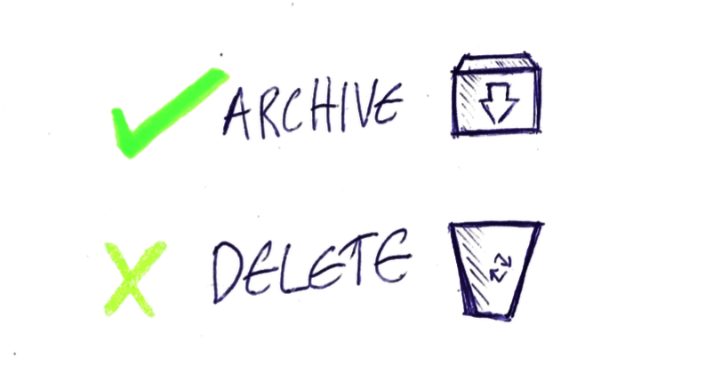 archive vs delete copy
