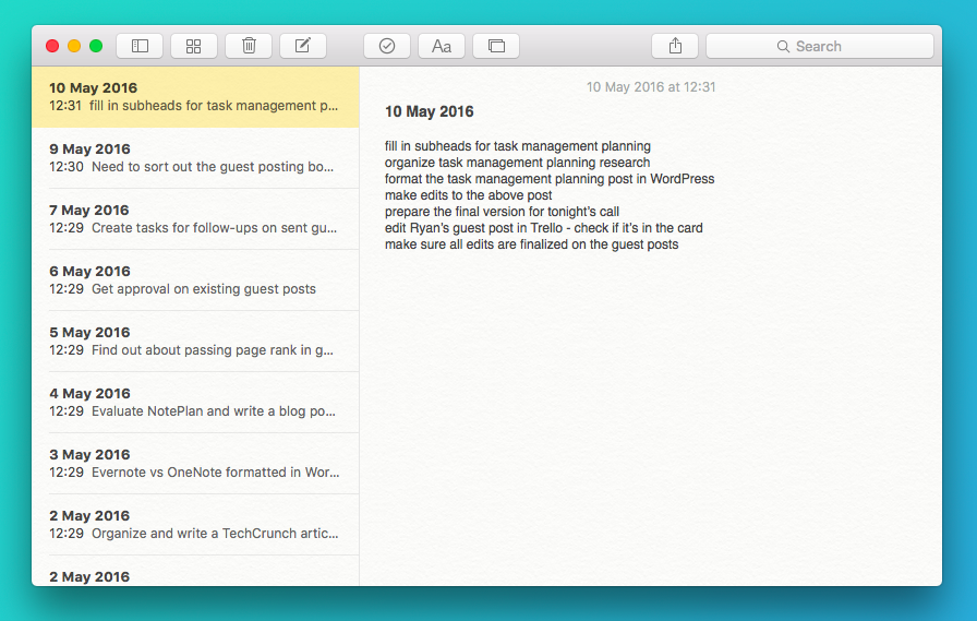 Apple Notes Task Management