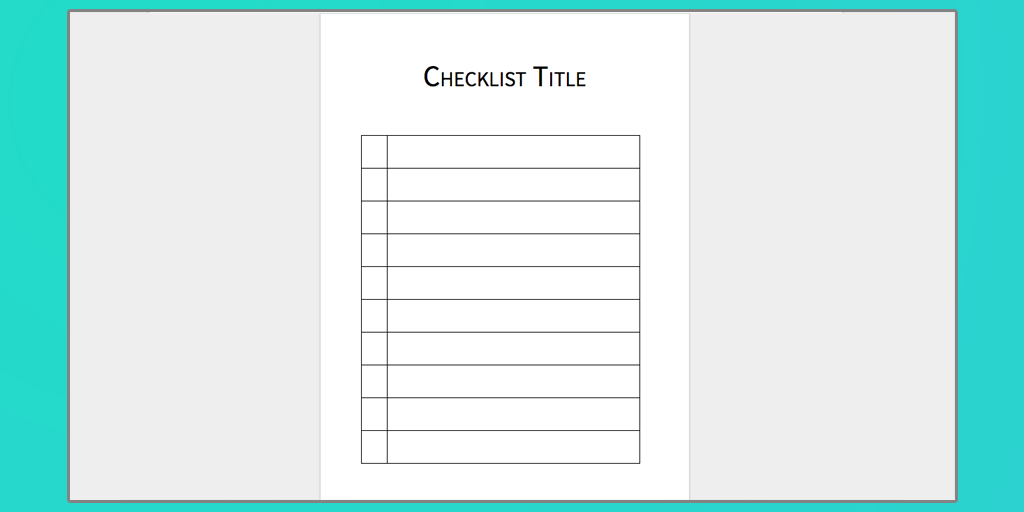 Word Checklist Samples