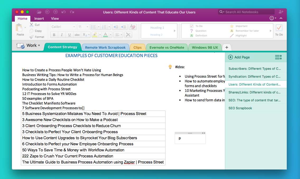 Task planning getting tasks out of your head into your for Onenote task management template