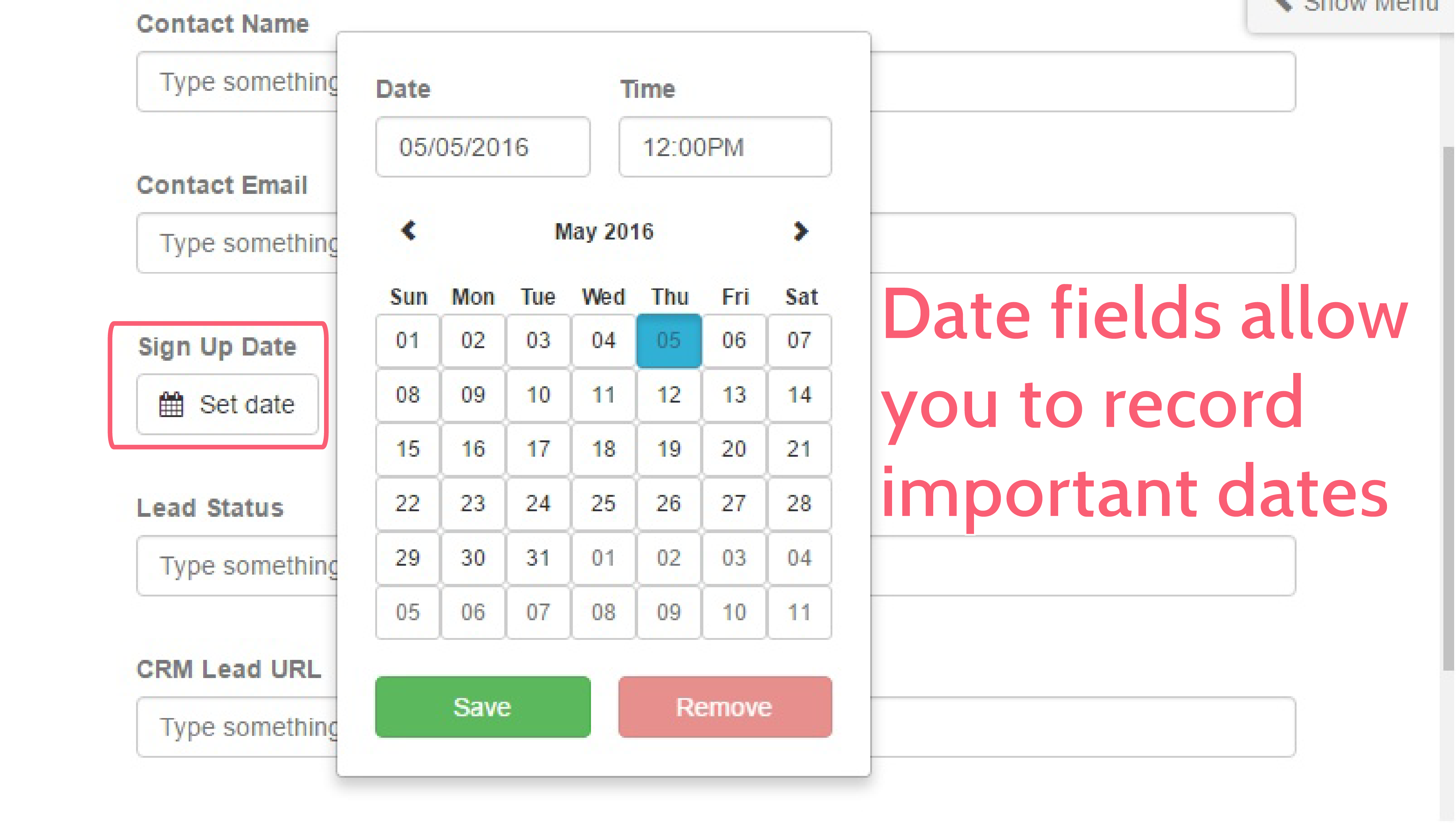 form automation - date form field