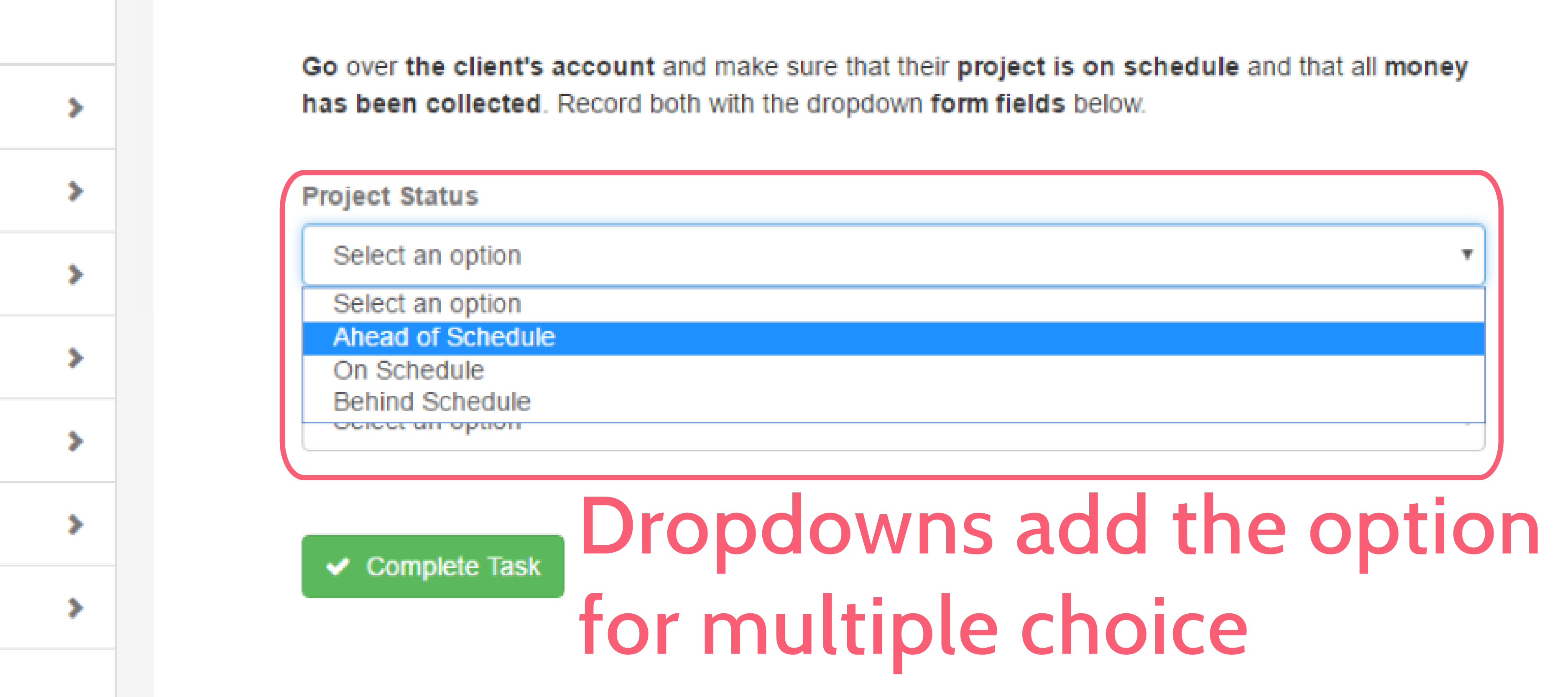 form automation - dropdown form field