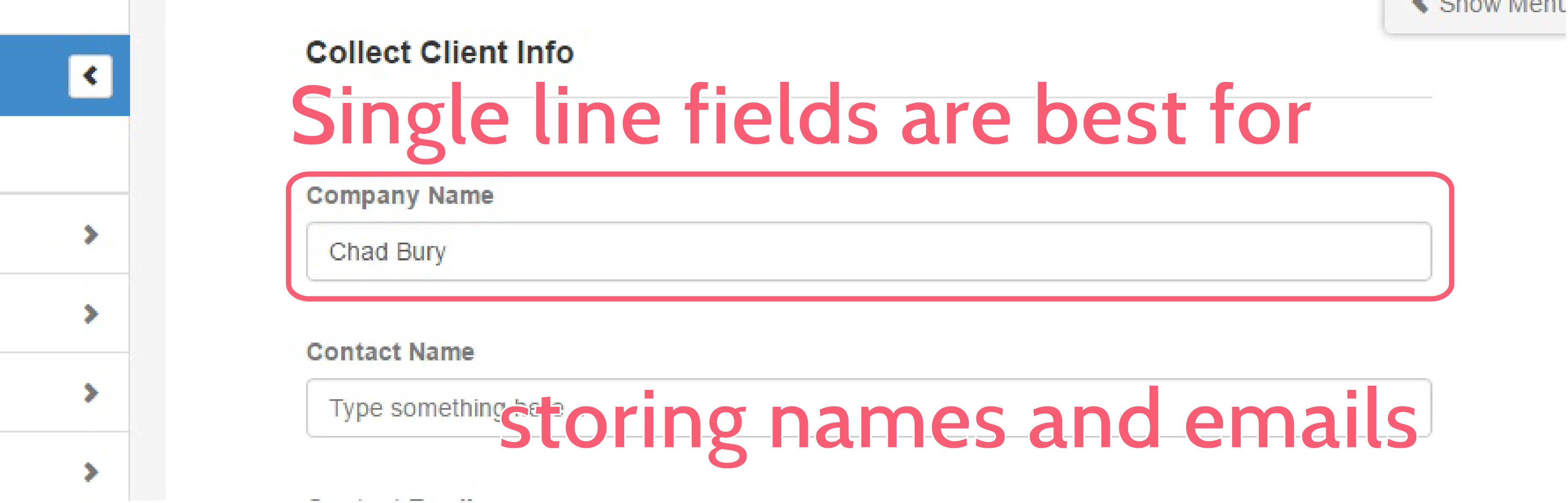 form automation - single line field