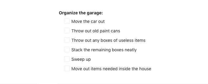 task for organizing the garage