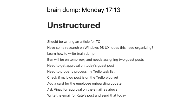 unstructured-task-management list