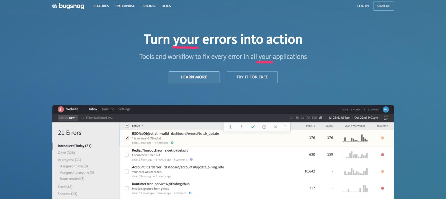BugSnag SaaS Landing Pages