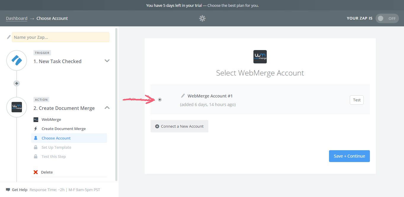 Choose WebMerge Account