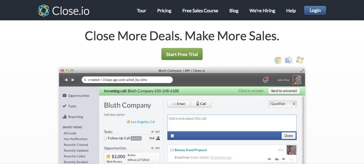 Close io Startup Landing Page