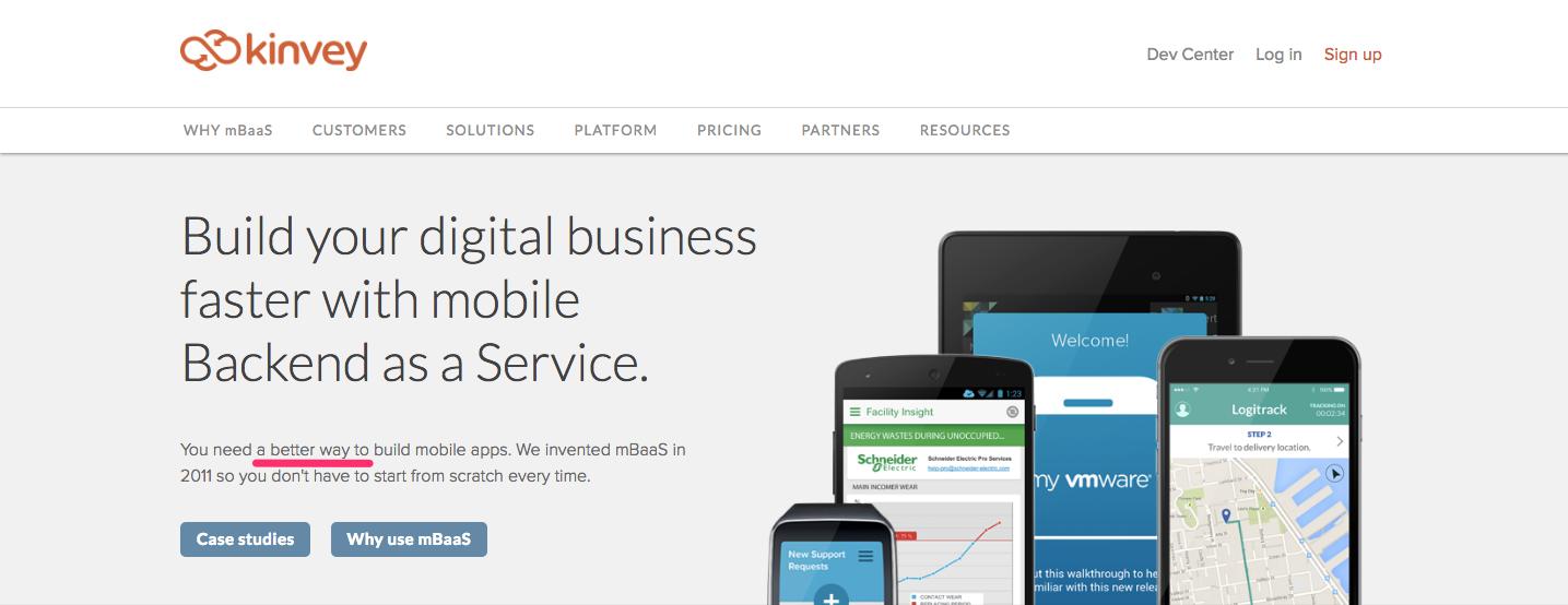 Kinvey Startup Landing Page