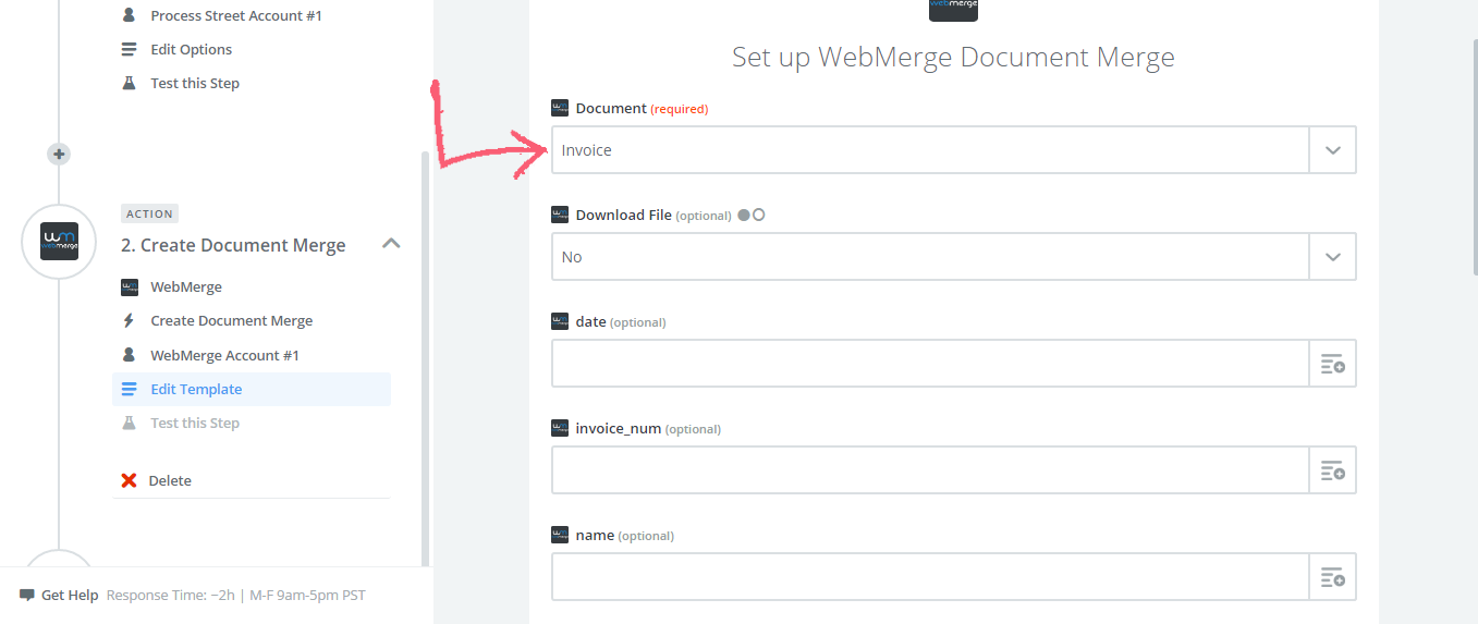 Setting up Your WebMerge Template